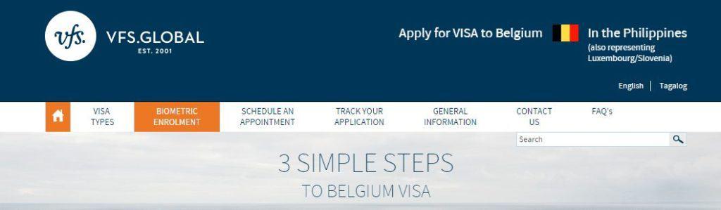 Schedule an appointment for Belgium Schengen website from Manila
