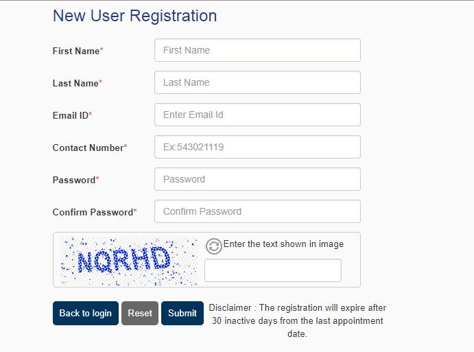 New user registration for Belgium Schengen visa from Manila