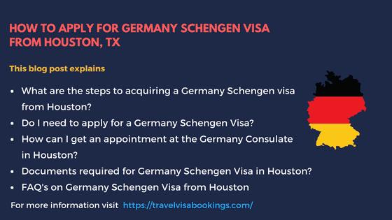 Germany Schengen Visa from Houston