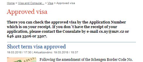 Czech consulate website application status