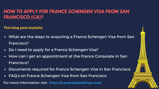 How to apply from France Schengen visa from San Francisco