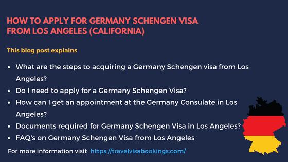 Germany Schengen Visa from LA