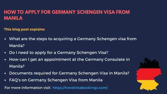 Germany Visa Template for Manila
