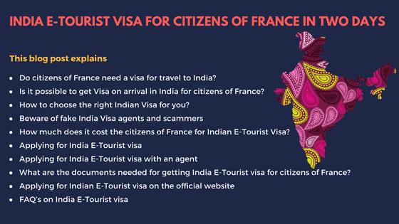 India E-Tourist Visa for Citizens of France – Visa at