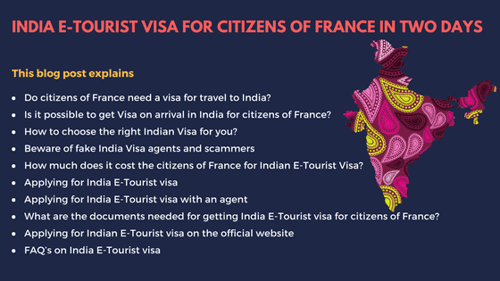 Indian E- Tourist Visa for France Citizens in 2 days