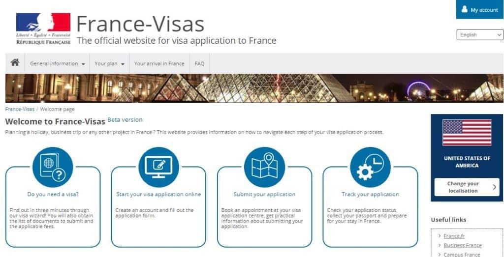 The Official website for France visa application