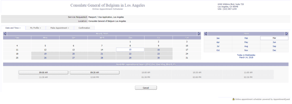 Los Angeles appointment booking in belgian consulate dates