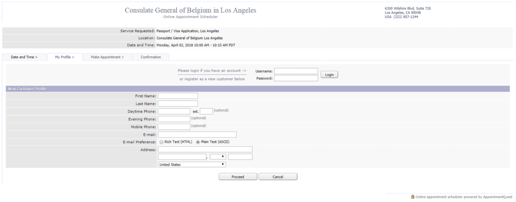 Los Angeles appointment booking in belgian consulate form