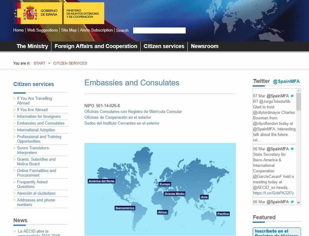Official spanish consulate website