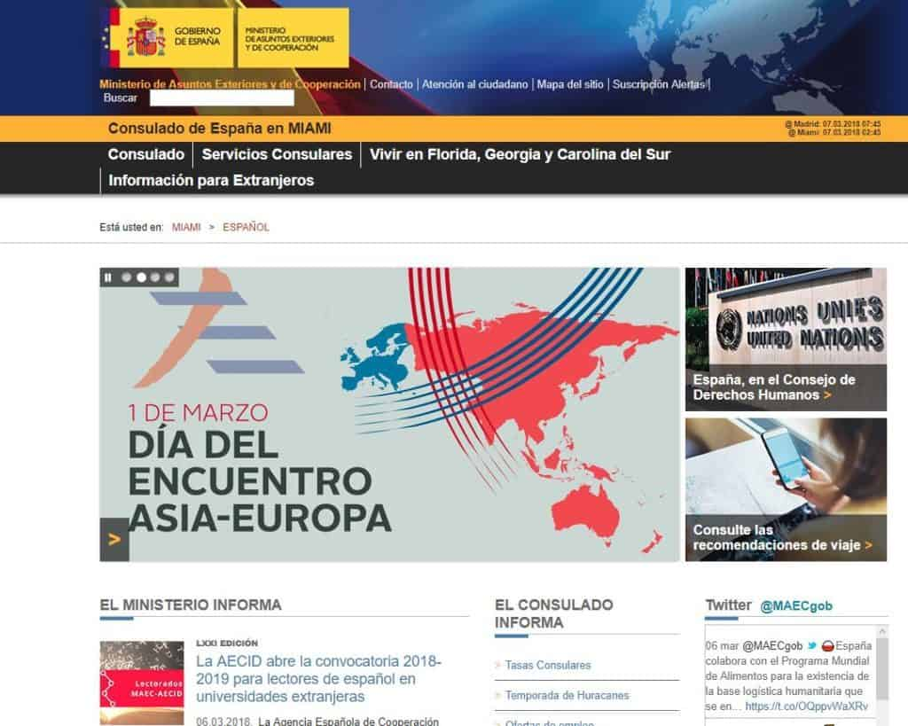 Official website of spanish consulate in Miami(Spanish)