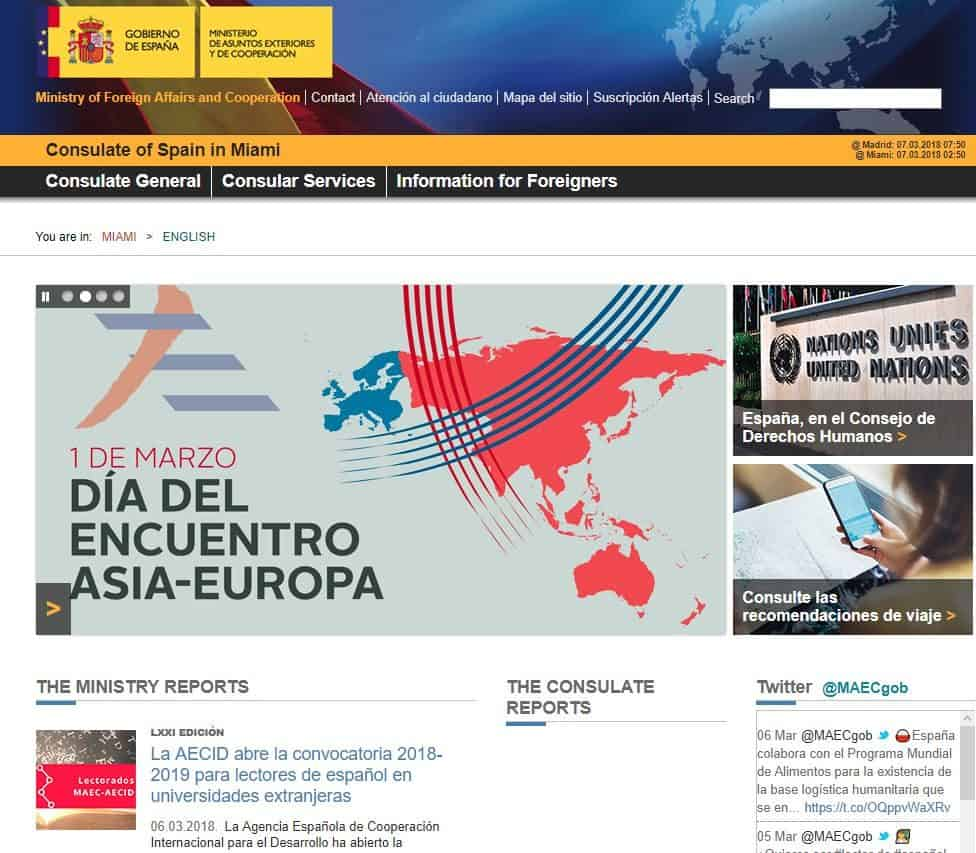 Official website of spanish consulate in Miami(English)