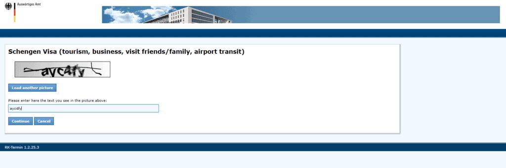 NY visa application procedure captcha