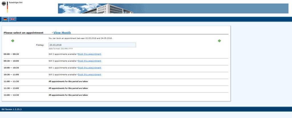 NY visa application procedure dates 2