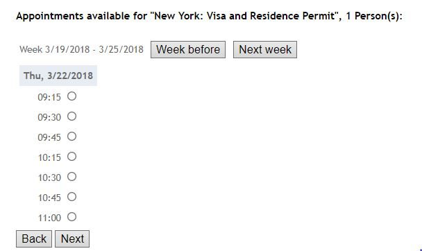 Appointment date and time for Austrian Schengen visa