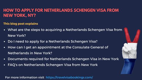 Netherlands Visa template from New York, NY
