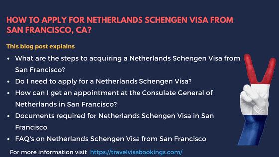 Netherlands Visa template from San Francisco, CA