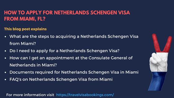 Netherlands Schengen visa from Miami, FL