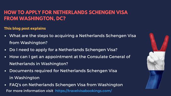 Netherlands Schengen visa from Washington, DC