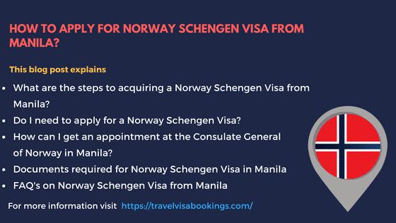Norway Schengen visa from Manila