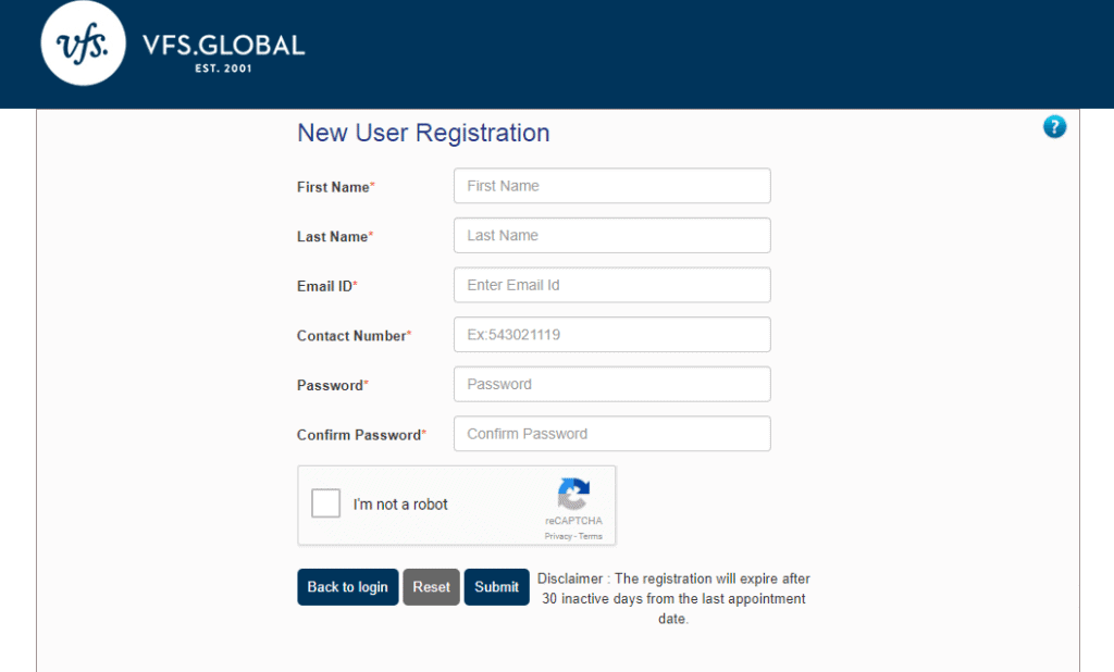 Norway consulate website registration form