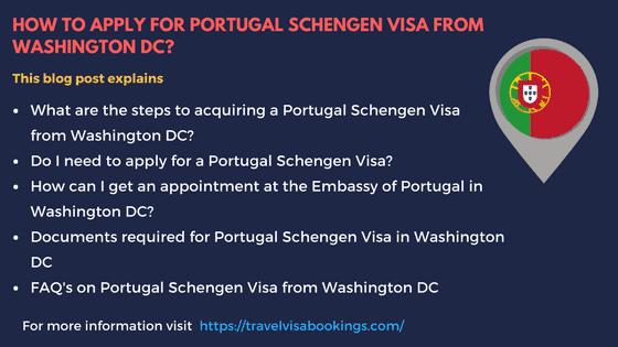 Portugal Schengen visa from Washington DC
