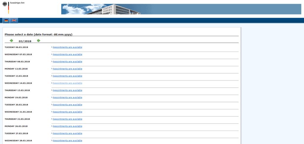 Visa application procedure DC date