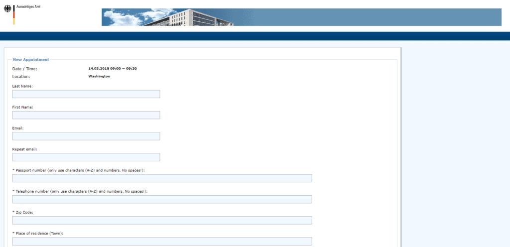 Visa application procedure DC form