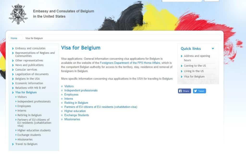 Visa for Belgium
