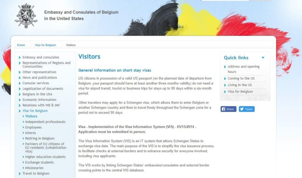 Visitors page on belgian consulate website