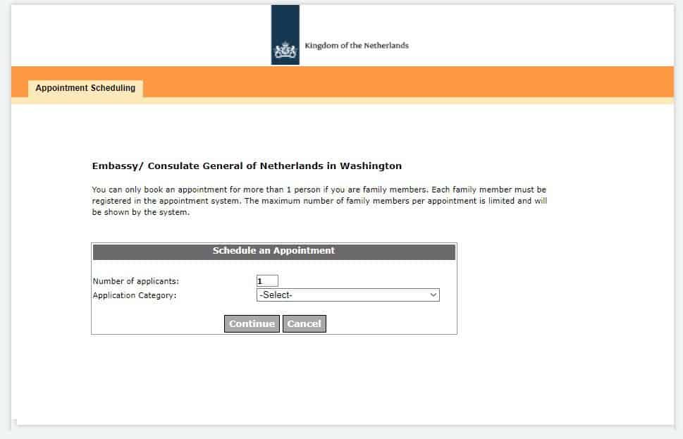 Application category for visa type on the Washington consulate