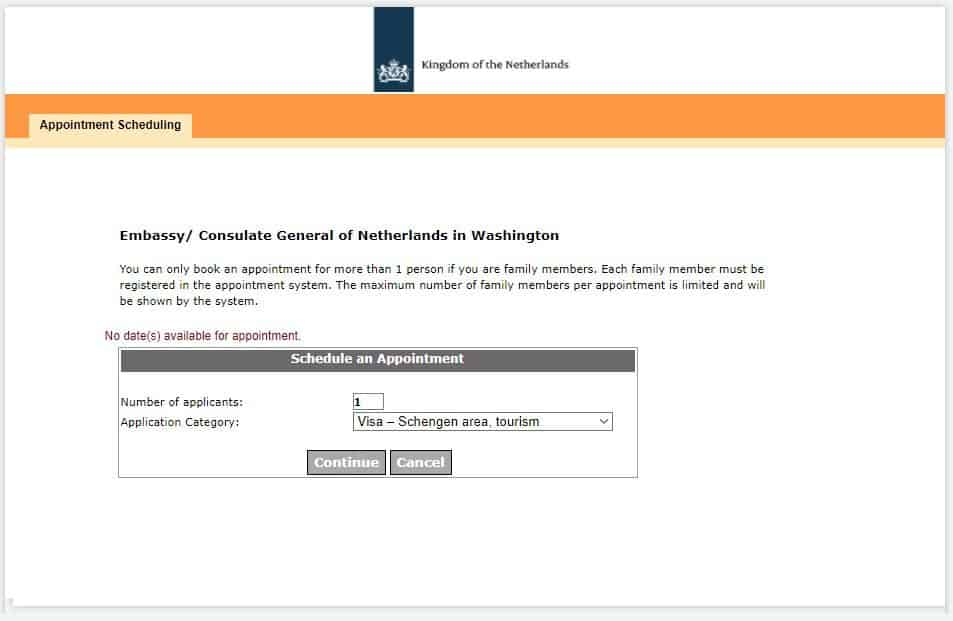 Booking appointment at the Washington consulate