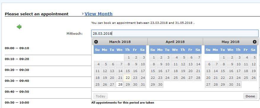 Calendar for visa appointment