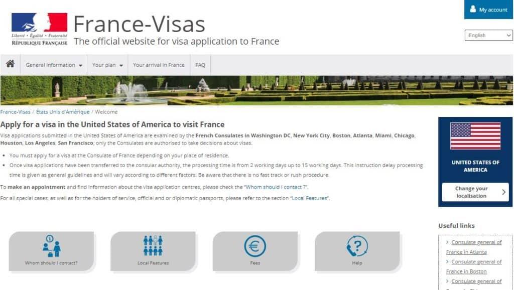 The Official website for France visa application 2