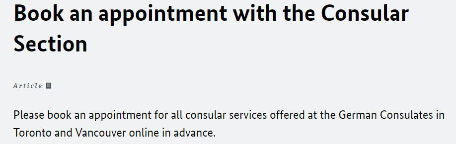 Consular Services-Visas appointment