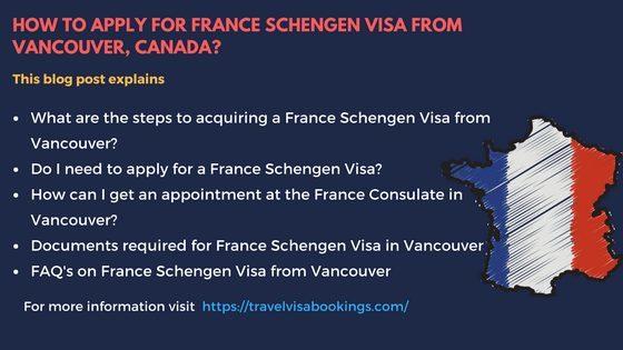France Schengen visa from Vancouver, Canada