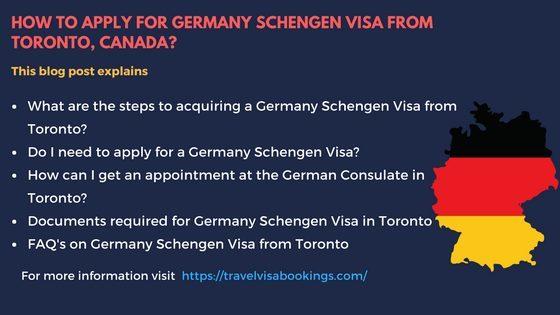 Germany Schengen visa from Toronto, Canada
