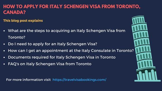 How to Apply for Italy Schengen visa at the Toronto Consulate?