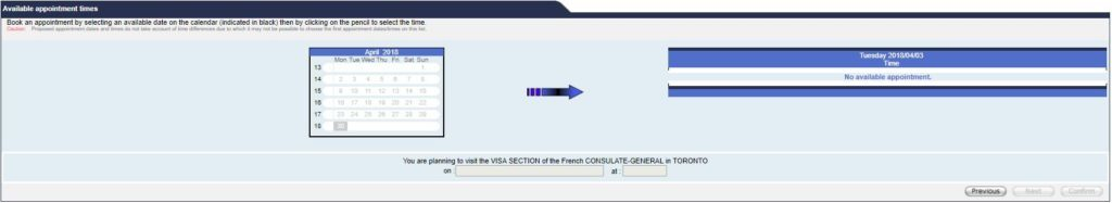 Selection of visa appointment date and time
