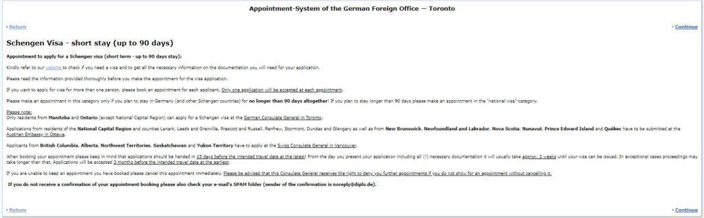Short stay Schengen visa information