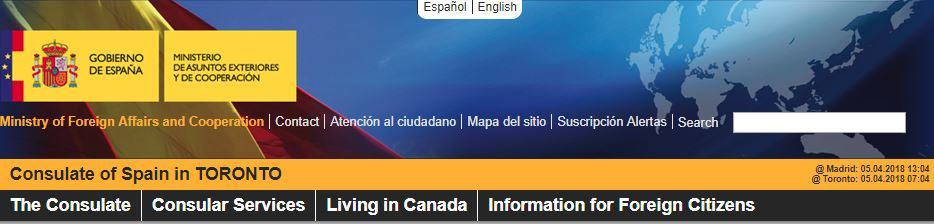 Official website of Spanish consulate in Toronto