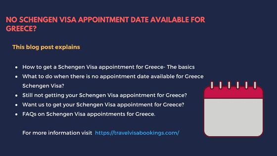 No Schengen visa appointment for Greece