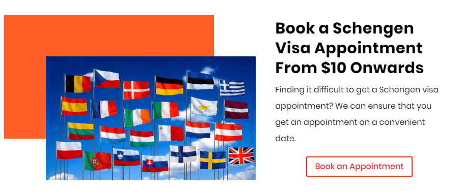 Book a Schengen visa Appointment from $10 onwards