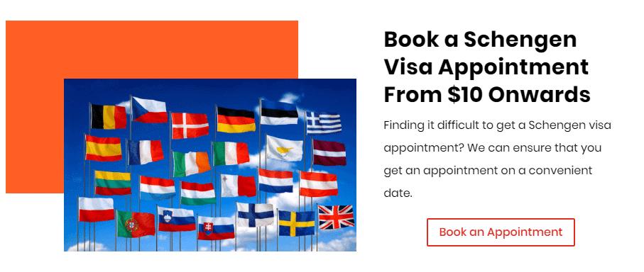 Book a Schengen visa Appointment from $10 onwards