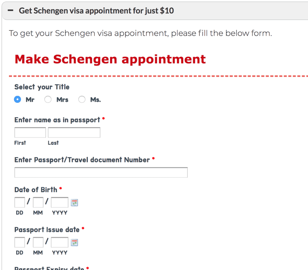Schengen visa appointment form