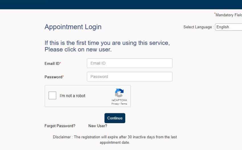 Schengen appointment login page