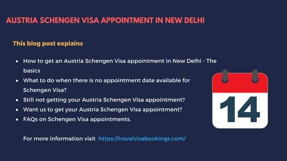 Austria Schengen visa appointment in New Delhi