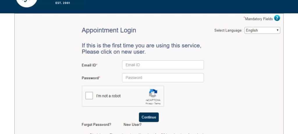 Schengen visa appointment login page