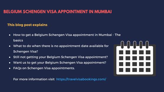Belgium Schengen visa appointment in Mumbai