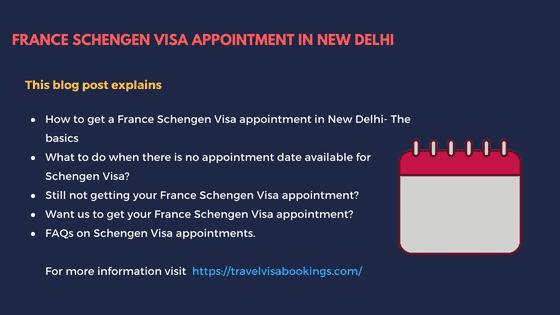 France Schengen visa Appointment in New Delhi