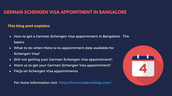 How to get a German Schengen visa appointment in Bangalore